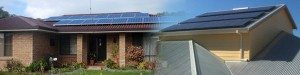 A grid of 8 solar panels attached to the roof of a house