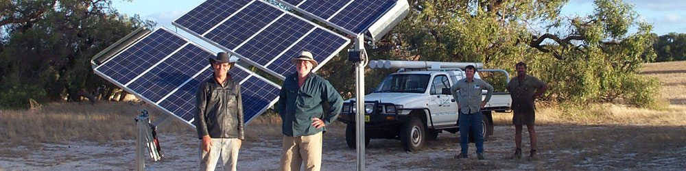 4 of WA Solar Supplies' team members shown standing near solar powered water pumps